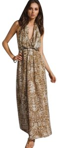 Brown Maxi Dress by Lovers + Friends Maxi Halter Snakeskin