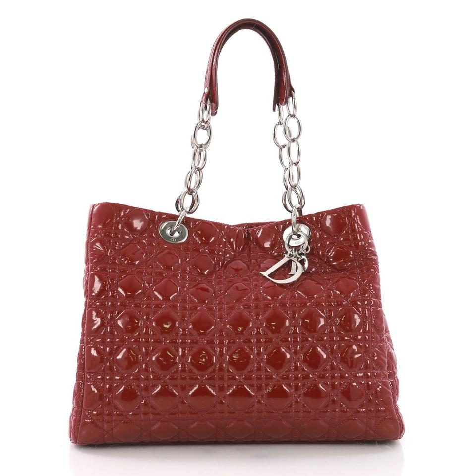 e3d834fe6240 Dior Christian Cannage Quilted Shopping Red Patent Leather Tote ...