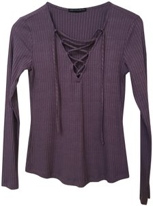 Harlowe & Graham Size Small Longsleeve Ribbed Knit Lace Up Top Purple