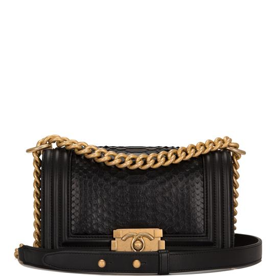 a5b3c142583c Chanel Boy Small Black Python Skin Leather Shoulder Bag - Tradesy