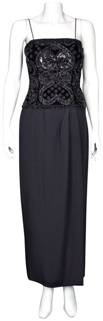 Item - Black Beaded Bodice Wrap Skirt Couture Long Formal Dress Size 4 (S)