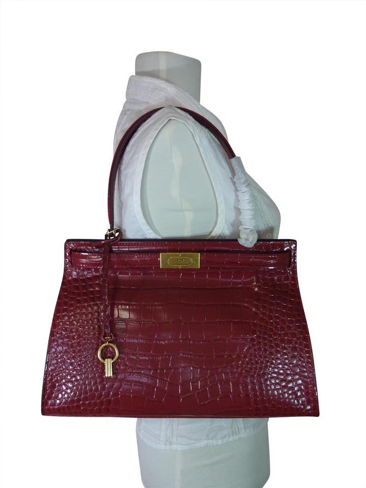 bfec2a99ea14 Tory Burch Croc Lee Radziwill Red Embossed Leather Satchel - Tradesy