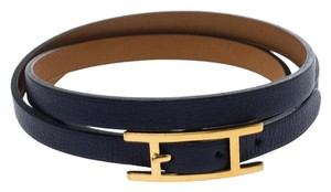 Hermès Hapi 3 Blue Leather Gold Plated Wrap Bracelet M