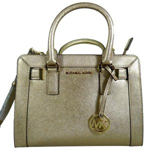 Michael Kors Leather 191262018497 Satchel in Pale Gold
