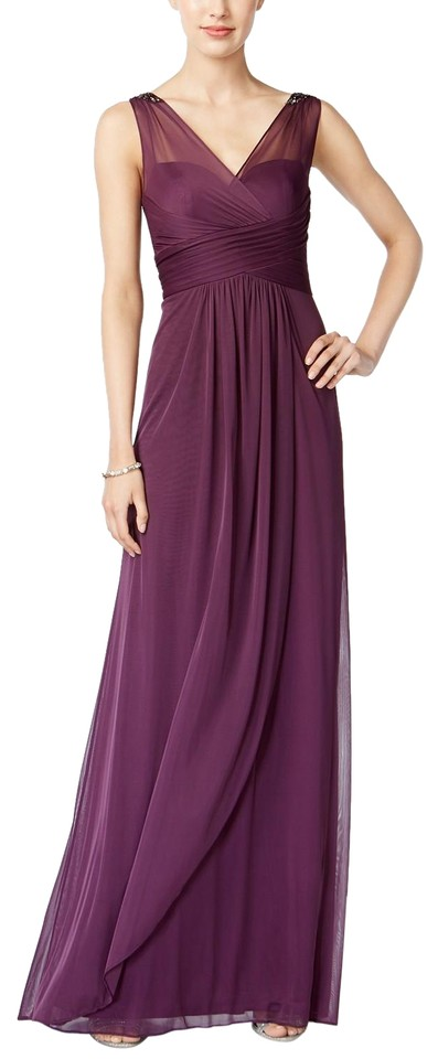 Adrianna Papell Currant Ruched Embellished Gown Long Formal Dress