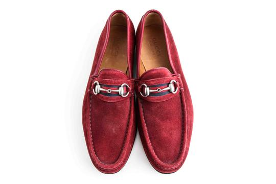 Gucci Red Horsebit Webbing-trimmed Suede Loafers Sneaker Shoes