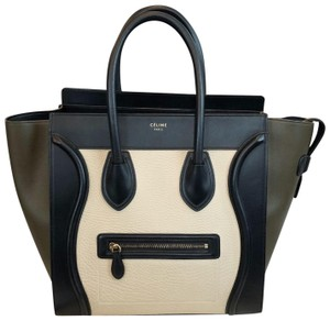 Céline Tote in black khaki green