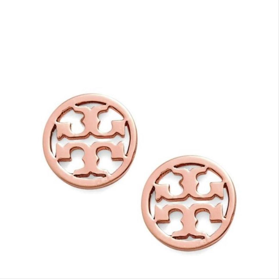 Tory Burch Rose Gold Small Circle Logo Stud Earring