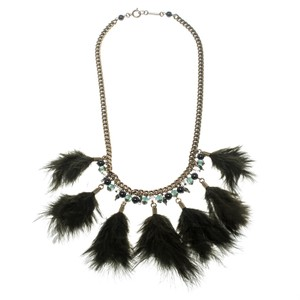Isabel Marant Dark Green Feather Gold Tone Necklace