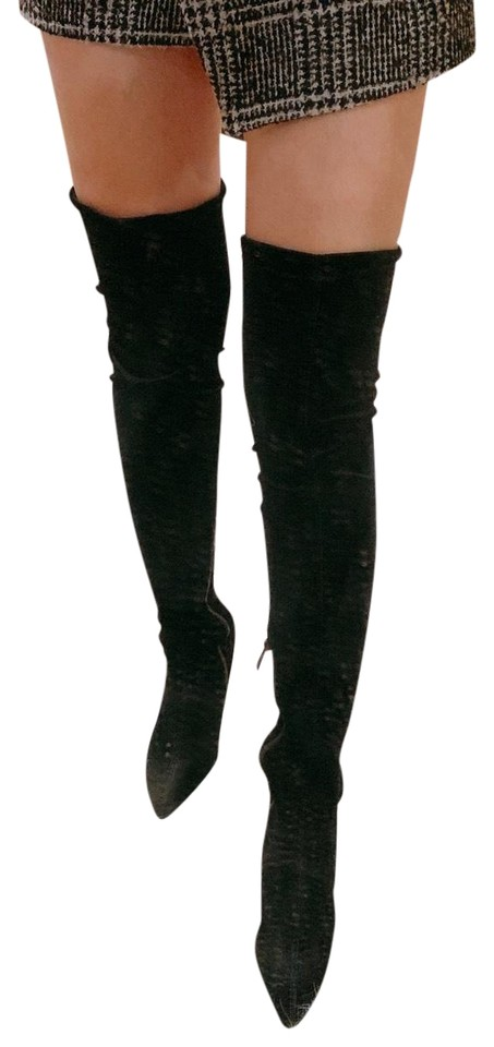 432b5f8a81a Public Desire Black Over The Knee Velvet Boots Booties Size US 7 ...