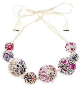 Louis Vuitton Cream Print Beaded Fabric Tie- Up Statement Necklace