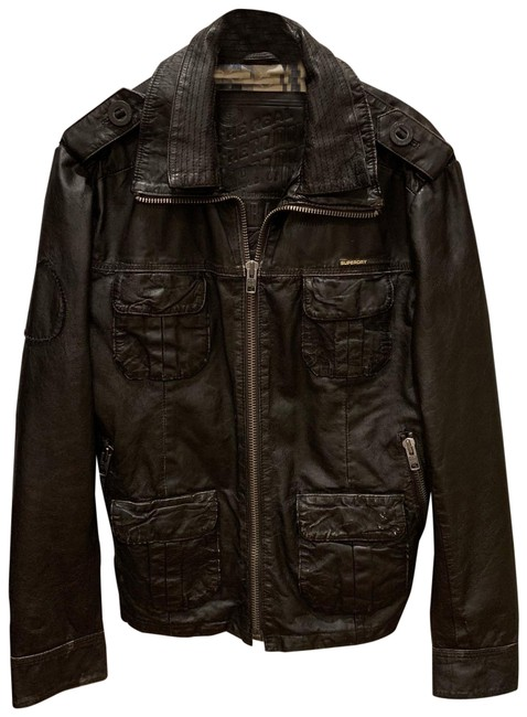 Super Dry brown Leather Jacket Image 0