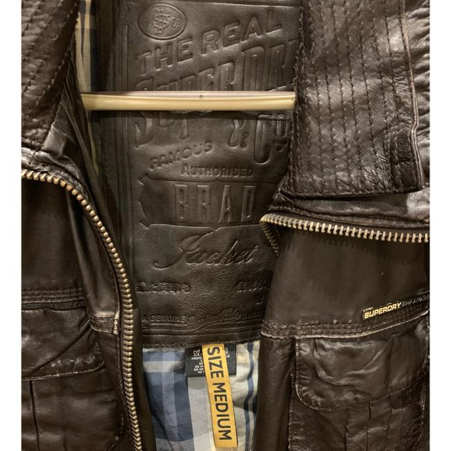 Super Dry brown Leather Jacket Image 3