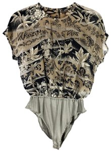 Escada Floral Leaves Flowy Vintage Top Taupe Neutral