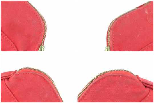 Hermès Make Up Toiletry Cosmetic Trousse Pouch Red Clutch Image 7