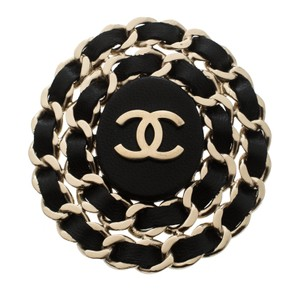 Chanel CC Black Leather Interlaced Gold Tone Pin Brooch