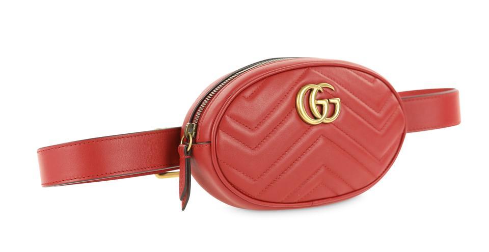 1d2b75fc5640f Gucci Marmont Gg Matelassé Belt Hibiscus Red Leather Baguette - Tradesy