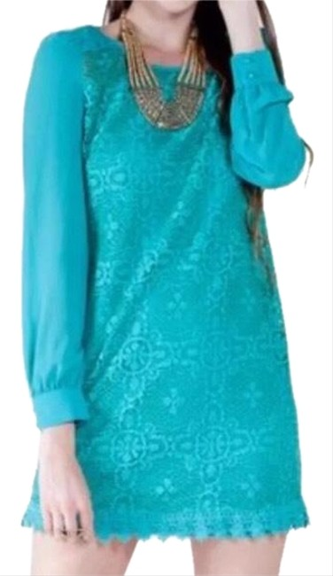 Preload https://img-static.tradesy.com/item/24429561/flying-tomato-turquoise-lace-shift-short-casual-dress-size-6-s-0-1-650-650.jpg