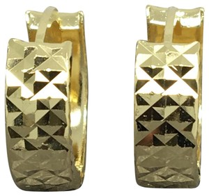 other 14K Yellow Gold Diamond Cut X Pattern Hoop Earrings