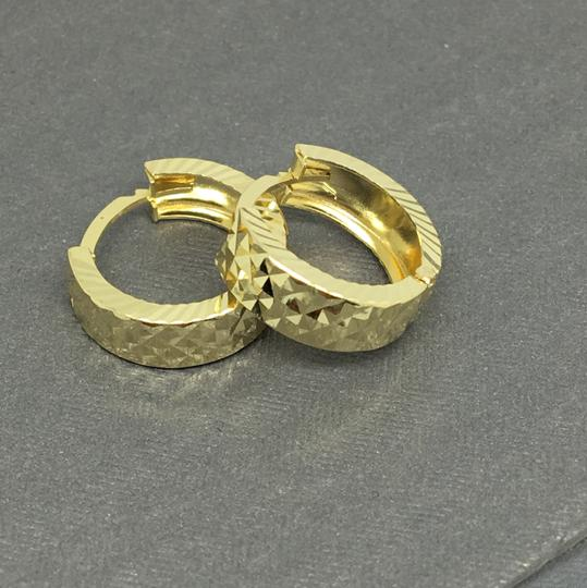 other 14K Yellow Gold Diamond Cut X Pattern Hoop Earrings Image 2