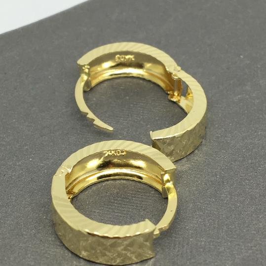other 14K Yellow Gold Diamond Cut X Pattern Hoop Earrings Image 3