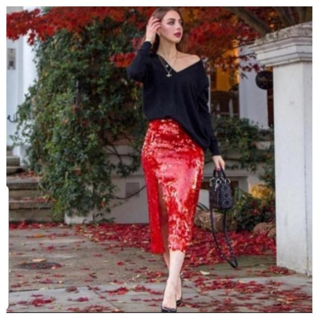 Item - Red Sequined Skirt Size 4 (S, 27)