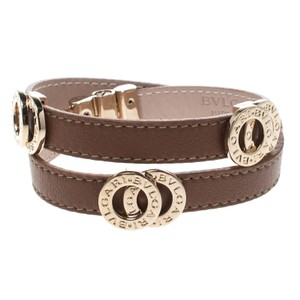 BVLGARI Brown Leather Gold Tone Double Coiled Wrap Bracelet