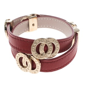 BVLGARI Red Leather Double Coiled Gold Plated Bracelet