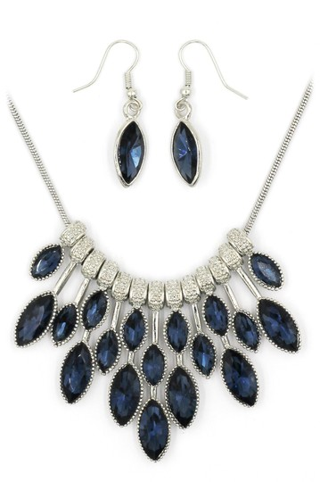 Ocean Fashion fashion blue crystal necklace earrings silver sets Image 2