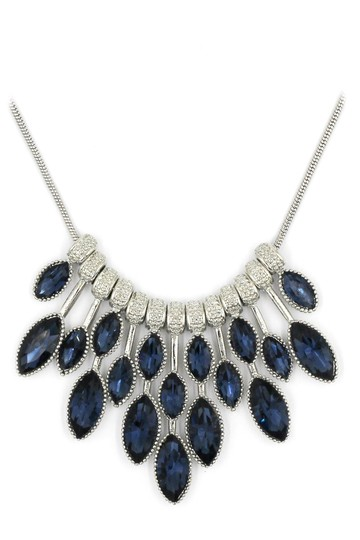 Ocean Fashion fashion blue crystal necklace earrings silver sets Image 3