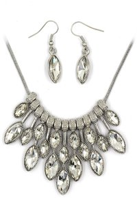 Ocean Fashion Fashion Transparent crystal necklace earrings silver sets