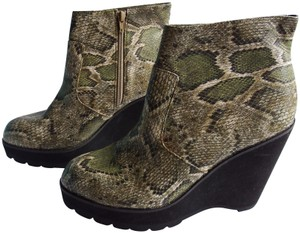 Deena & Ozzy Snake Multi Wedge Leather Green/Black/Cream Reptile Print Boots