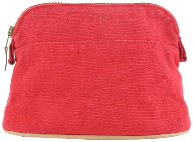 Hermès Bolide Cosmetic Make Up Pouch 230796 Red Canvas Clutch Hermès Bolide Cosmetic Make Up Pouch 230796 Red Canvas Clutch Image 1