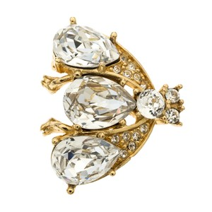 Dior Iconic Bee Crystal Embellished Gold Tone Pin Brooch