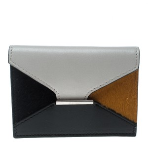 Céline Grey/ Multicolor Leather and Calf Hair Diamond Card Case