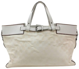 Gucci Belt Buckle Shopper Large Shopping Tote in White