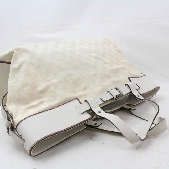 Gucci Belt Buckle Shopper Large Shopping Tote in White Image 4