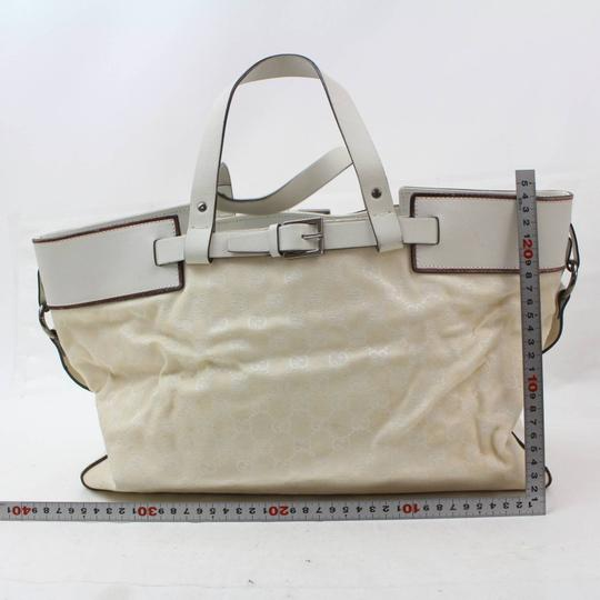 Gucci Belt Buckle Shopper Large Shopping Tote in White Image 5