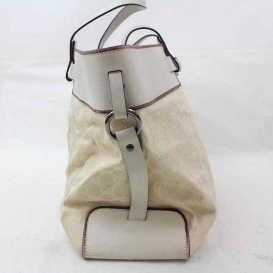 Gucci Belt Buckle Shopper Large Shopping Tote in White Image 7