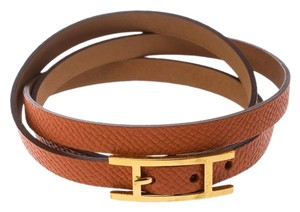 Hermès Hapi 3 Orange Leather Gold Plated Wrap Bracelet S