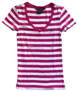 Ralph Lauren T Shirt Pink and White Stripes