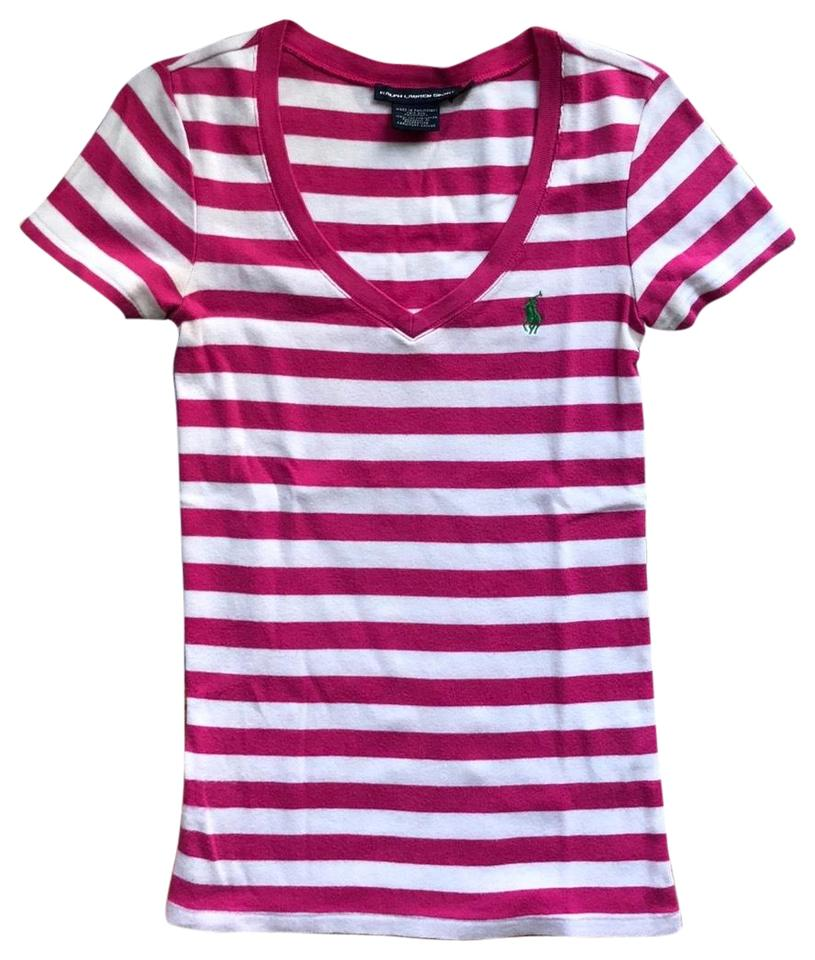 30564647d Ralph Lauren Pink and White Stripes Sport Tee Shirt Size 4 (S) - Tradesy