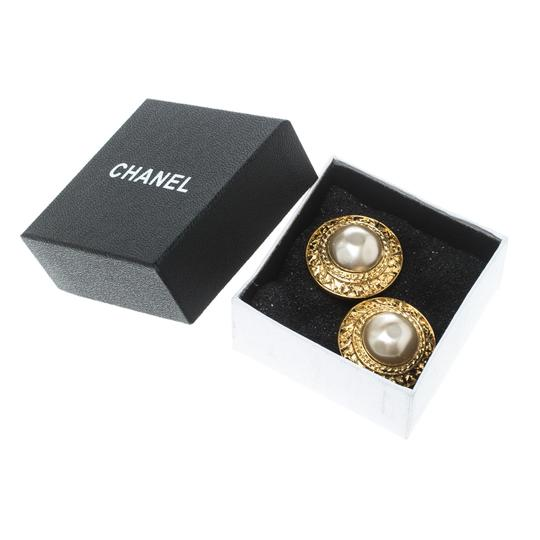 Chanel CC Vintage Textured Faux Pearl Gold Plated Clip-on Stud Earrings