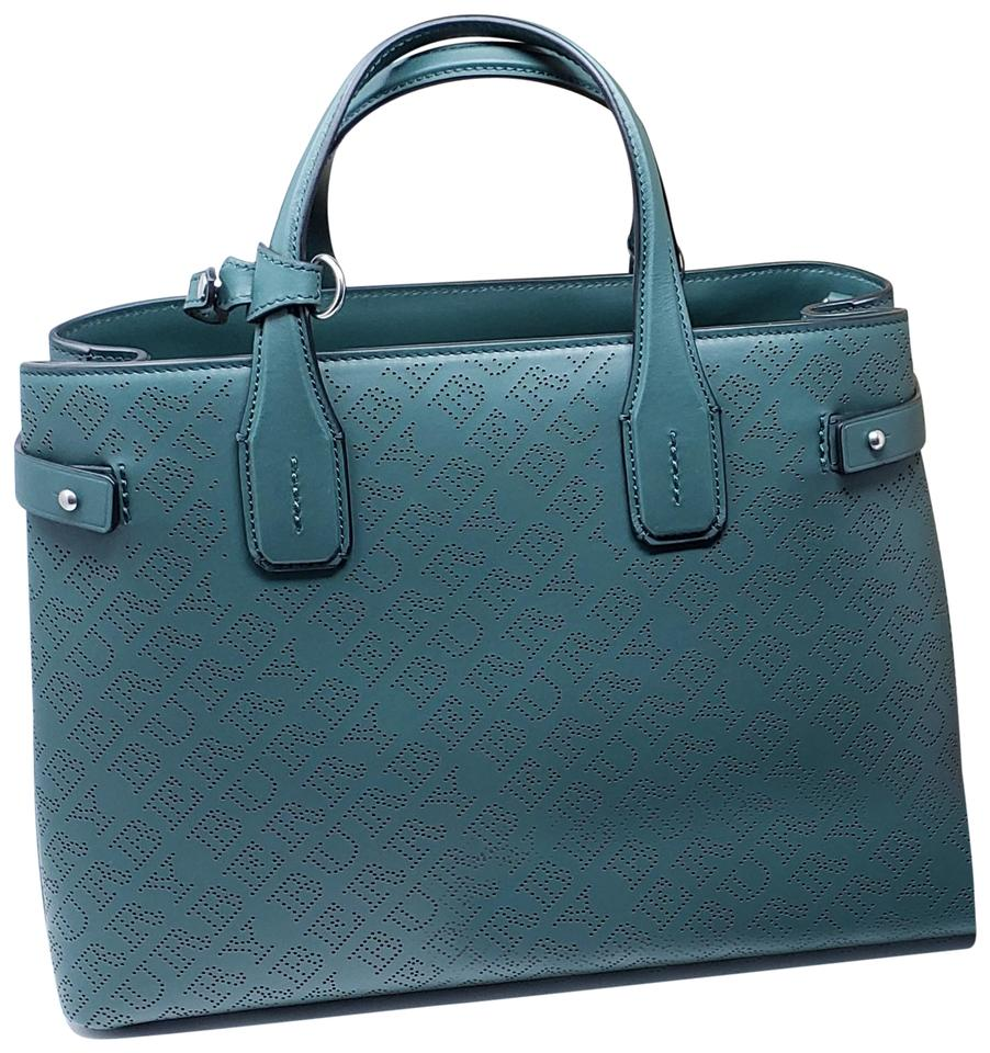 6f6b0328d20c Burberry New with Tag Medium Banner In Perforated Logo Tote Green ...
