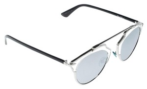 Dior Silver/Black Silver Mirrored APPDC So Real Round Sunglasses