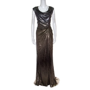 Tadashi Shoji Polyester Sequined Draped Gown M Casual Wedding Dress Size 8 (M)