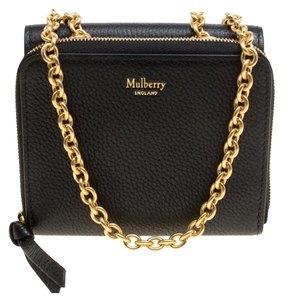 Mulberry Black Leather Clifton Wallet On Chain