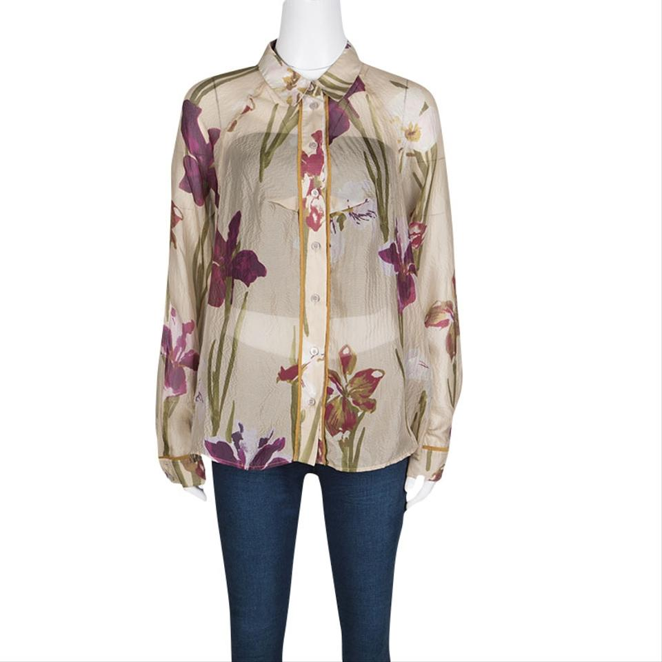 afbe387a Kenzo Beige Floral Printed Sheer Silk Button Front Shirt L Button ...