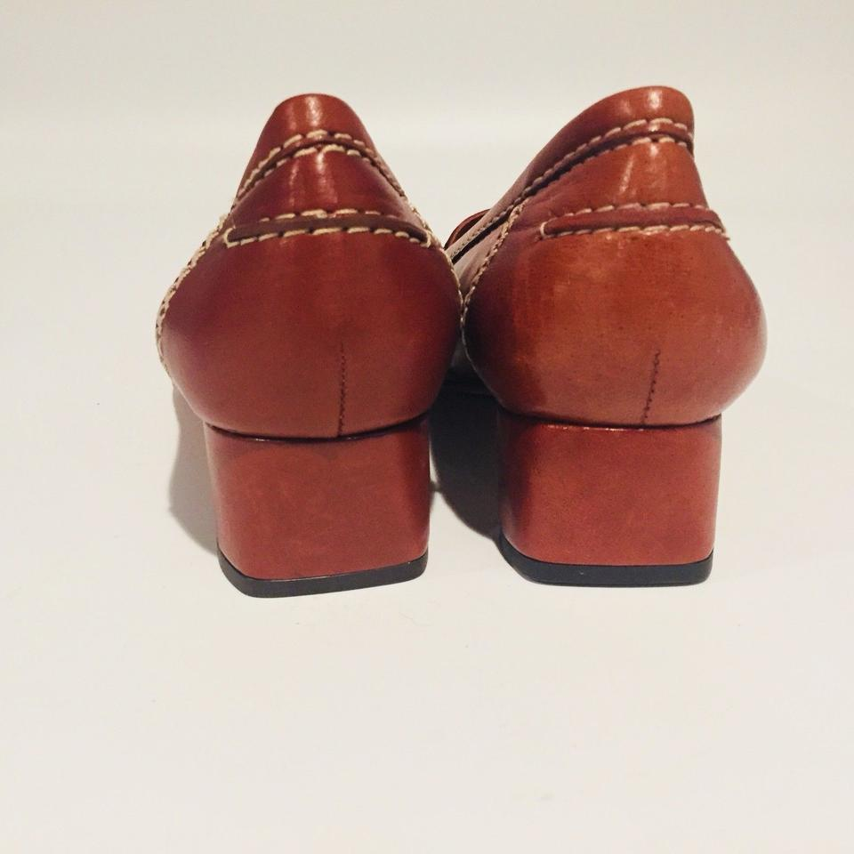 283a5a7e25e Johnston   Murphy Penny Loafer Block Heel Brown Leather Heels Pumps ...