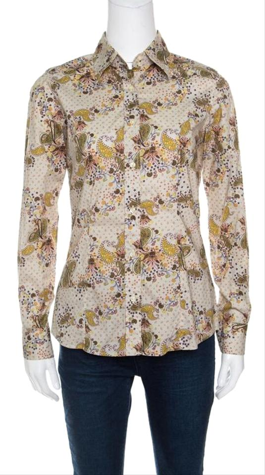 eb0582bbe7752 Etro Beige Paisley Printed Long Sleeve Button Front Shirt S Button ...